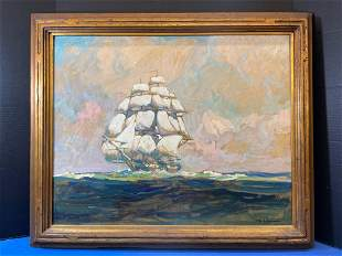 William James Aylward. Oil/Panel, Tall Ship