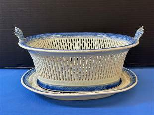 Chinese Canton Chestnut Basket & Underplate