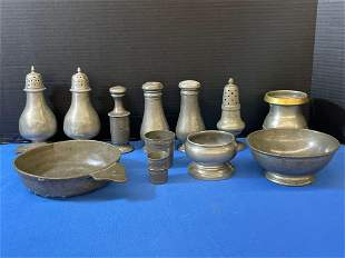 Collection of 12 Pewter Table Wares
