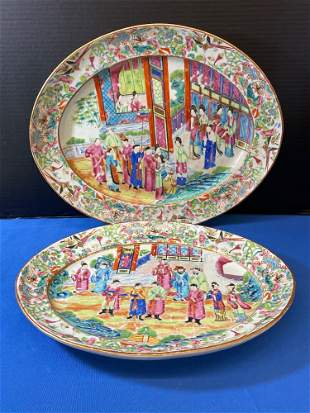 Pair of Chinese Famille Rose Porcelain Platters