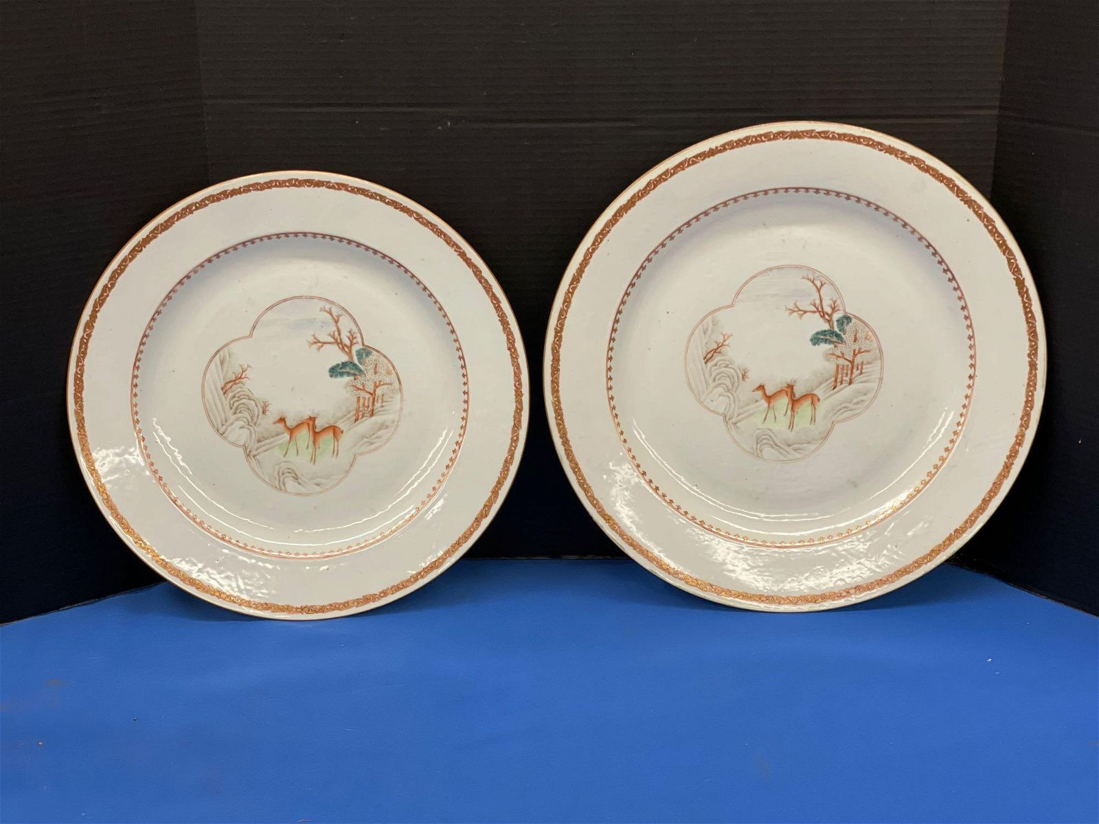 Two Large Chinese Export Porcelain Deer Plates