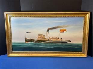 Scott Cameron. Oil/Canvas, Steam Tug Mountauk