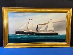 Scott Cameron. Oil/Canvas, Steamer Manhattan