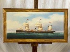 Scott Cameron. Oil/Canvas, Steamship Pennsylvania