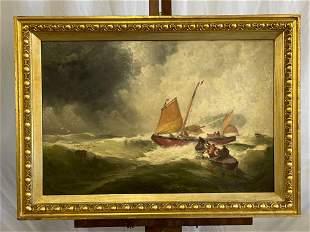 George W. Nicholson (Attrb.). Oil/Panel, Maritime Scene