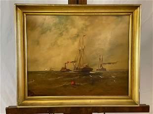 Henry Tatnall. Oil/Panel, Ships at Sea