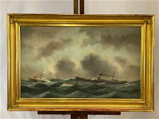 Edouard Adam. Oil/Canvas, Ship Rescue