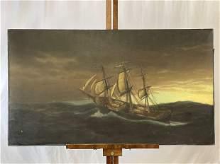 Large Format Oil/Canvas, Maritime Scene