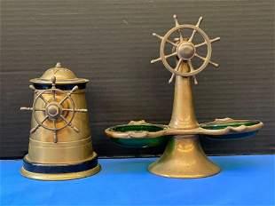 Ship's Wheel Cigar Cutter & Cigarette Dispenser