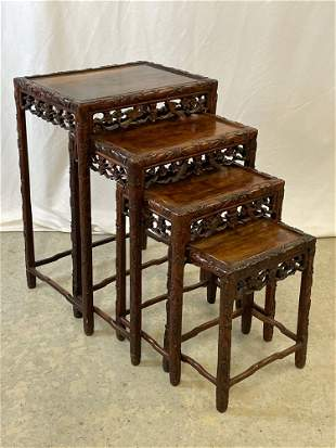 Nest of Four Chinese Carved Hardwood Stands