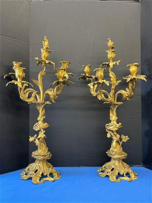 Pair of French Rococo-style Bronze Candelabras