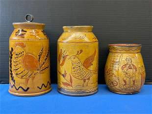 Three Greg Shooner Redware Jars