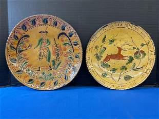Two Greg Shooner Redware Plates