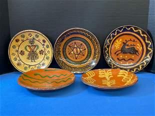 Five Greg Shooner Redware Plates