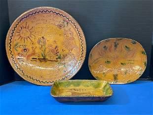 Three Greg Shooner Redware Plates
