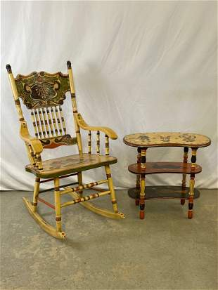 Tim Campbell Paint-decorated Rocking Chair & Table