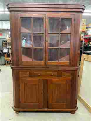 19th C. Two-piece Corner Cupboard