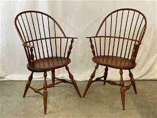 Pr. Contemporary Sack-back Windsor Armchairs