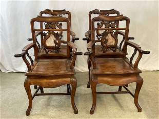 Four Marble-inlaid Chinese Hardwood Armchairs