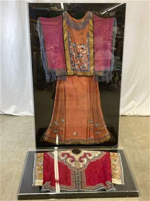 Chinese Embroidered Silk Robe and Jacket