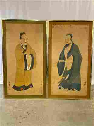 Pair of Asian Ancestral Scroll Paintings