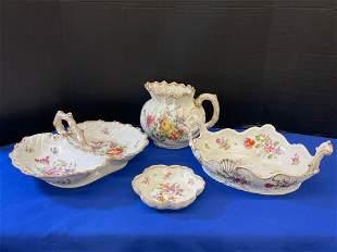 Four Pcs. Floral-decorated Continental Porcelain