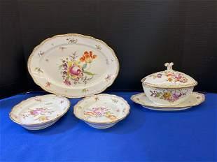 Four Pieces of Meissen Floral Porcelain