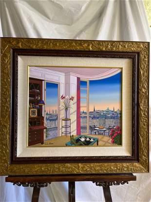 Fanch Ledan. Acrylic on Canvas, Breakfast in Paris