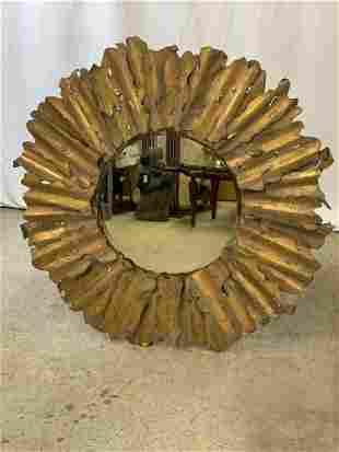 Brutalist-style Metal Sunburst Wall Mirror