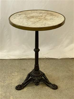 French Godin Marble-top Cast Iron Bistro Table