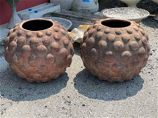 Large Pair of Dimpled Pottery Garden Planters
