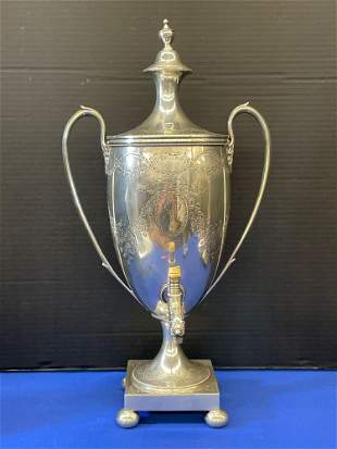 English Victorian Sterling Silver Water Urn