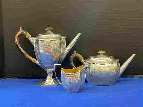 Three-piece English Sterling Silver Tea Set