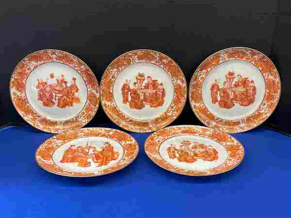 Five Chinese Export Porcelain Plates