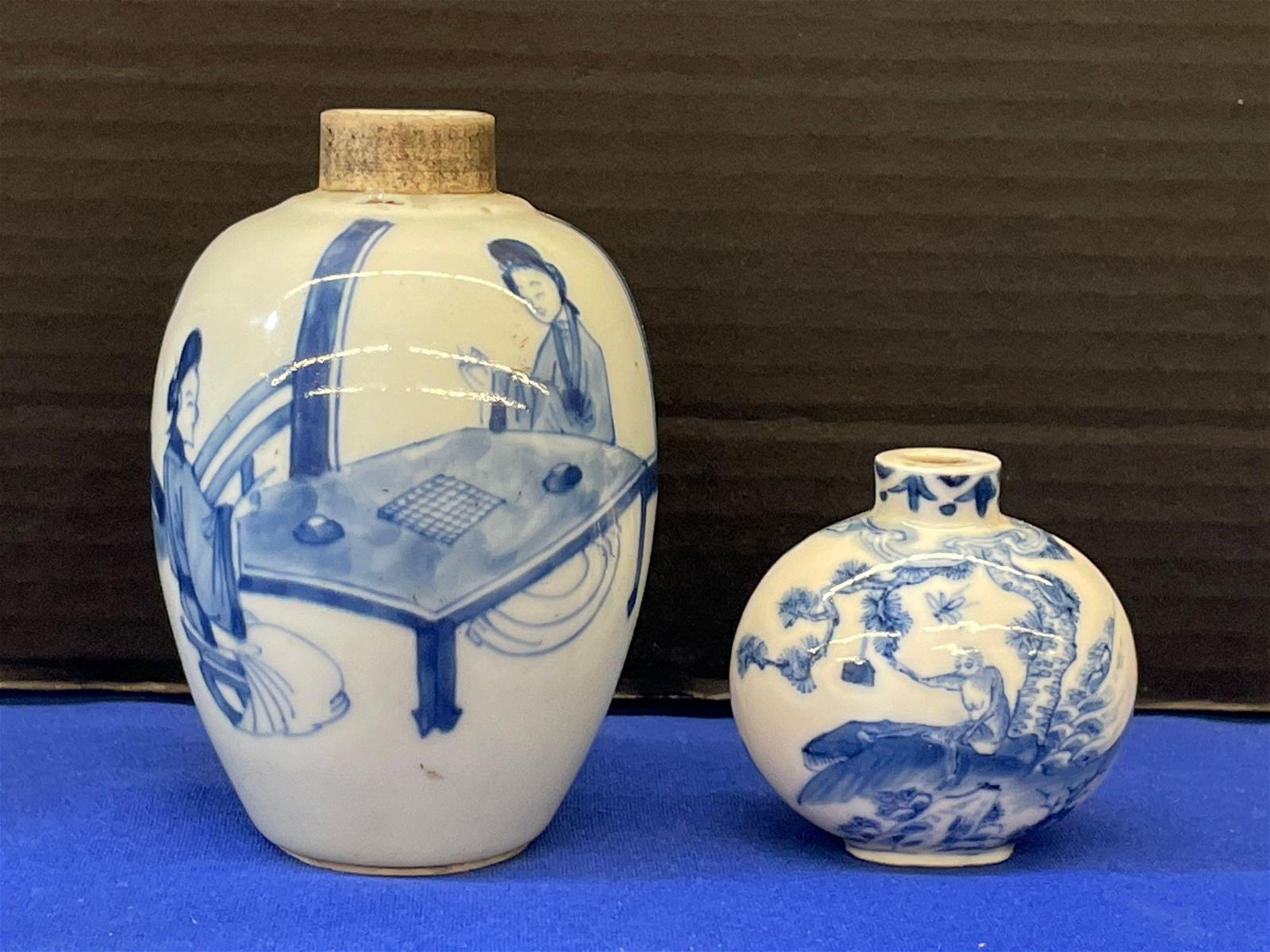 Chinese Blue & White Vase and Snuff Bottle