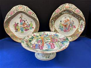 Three-pcs. Chinese Export Rose Mandarin Porcelain