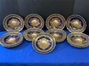 Seventeen German Porcelain Cabinet Plates