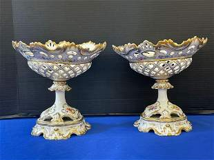 Pair of Continental Porcelain Basket Compotes