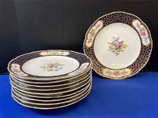 Ten French Sevres Porcelain Cabinet Plates