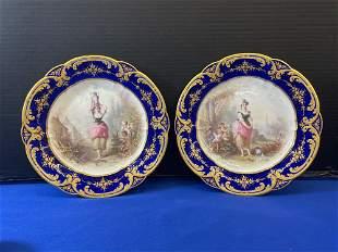 Pair of Sevres Porcelain Cabinet Plates