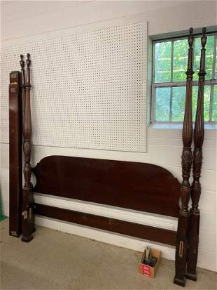 Mahogany Rice-carved King-size Bed