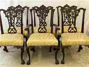 Six Chippendale-style Carved Mahogany Dining Chairs
