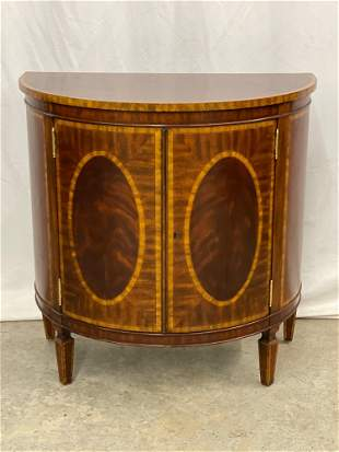 Maitland Smith Banded-mahogany Demilune Cabinet