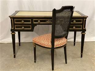 Karges Jansen Style Ebonized Desk & Chair