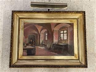 Ellsworth Woodward. O/C, Interior Genre Scene
