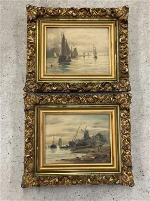 Pair of Continental School Oils/Canvas Seascapes