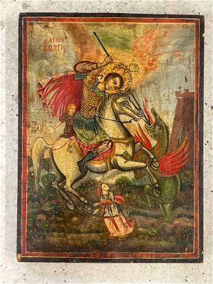 Russian Painted Wood Icon
