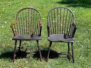 Two Bamboo-turned Windsor Armchairs