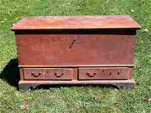 18th C. Painted Pine Blanket Chest