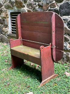 Red Painted Primitive Bench Table